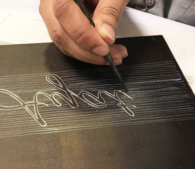 using an etching needle